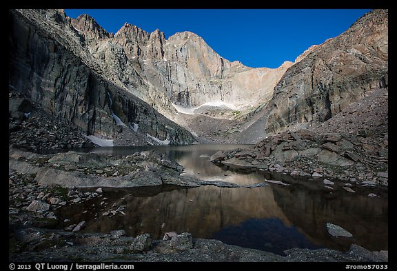 Longs Peak cirque and Chasm Lake, morning. Rocky Mountain National Park (color)