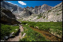 Chasm Lake trail. Rocky Mountain National Park, Colorado, USA. (color)