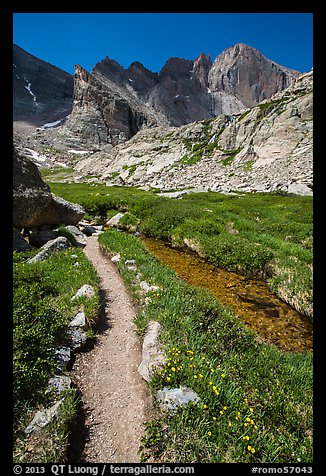 Trail, stream, and Longs Peak. Rocky Mountain National Park (color)