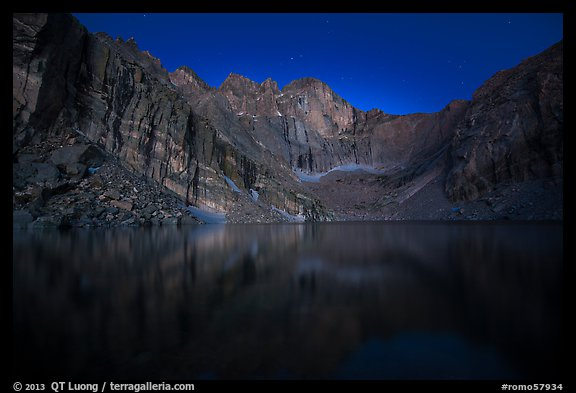 Chasm Lake at night. Rocky Mountain National Park (color)