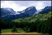 Hallett Peak and Flattop Mountain in fall. Rocky Mountain National Park, Colorado, USA.
