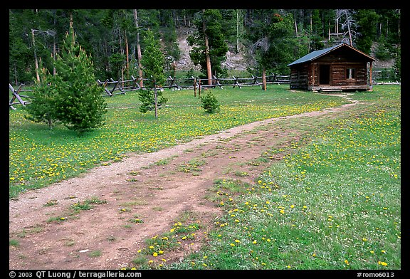 Path and historic cabin at Never Summer Ranch. Rocky Mountain National Park (color)