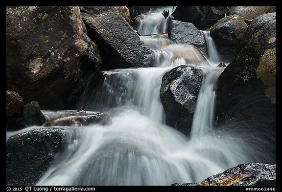 Close-up of water and boulders, Calypso Cascades. Rocky Mountain National Park (color)