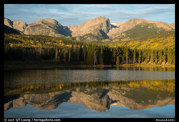 Otis Peak, Hallet Peak, and Flattop Mountain reflected in Sprague Lake. Rocky Mountain National Park (color)