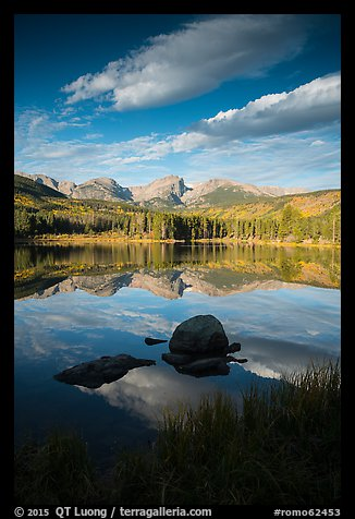 Continental Divide mountains reflected in Sprague Lake. Rocky Mountain National Park (color)