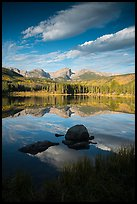 Continental Divide mountains reflected in Sprague Lake. Rocky Mountain National Park, Colorado, USA.