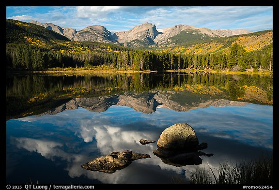 Continental Divide and Sprague Lake in autumn. Rocky Mountain National Park (color)