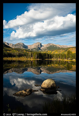 Clouds, boulders, Continental Divide, and Sprague Lake. Rocky Mountain National Park (color)