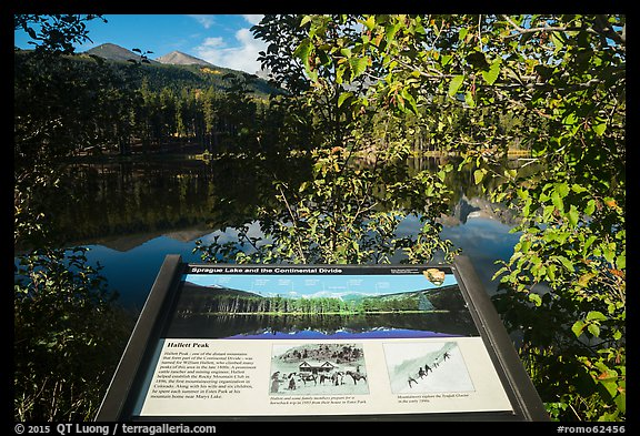 Sprague Lake and Continental Divide interpretive sign. Rocky Mountain National Park (color)