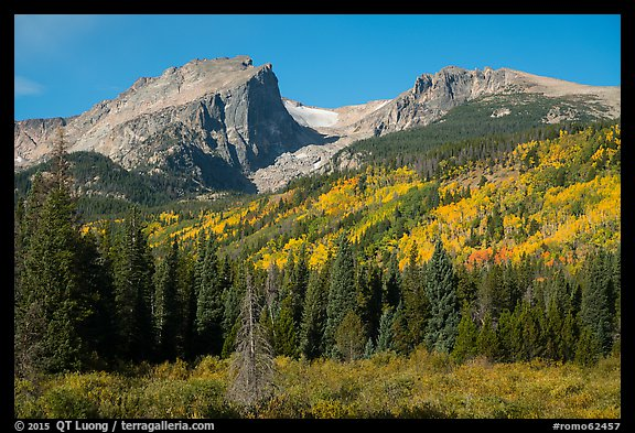 Hallet Peak, Tyndall Glacier, Flattop Mountain in autumn. Rocky Mountain National Park (color)