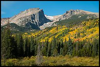 Hallet Peak, Tyndall Glacier, Flattop Mountain in autumn. Rocky Mountain National Park ( color)
