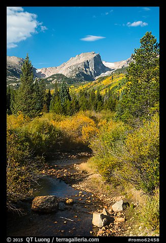 Creek and Hallet Peak in autumn. Rocky Mountain National Park (color)