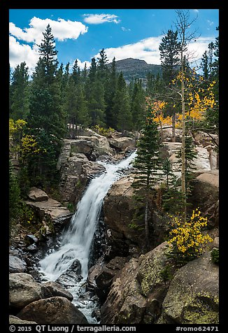 Alberta Falls and mountains. Rocky Mountain National Park (color)