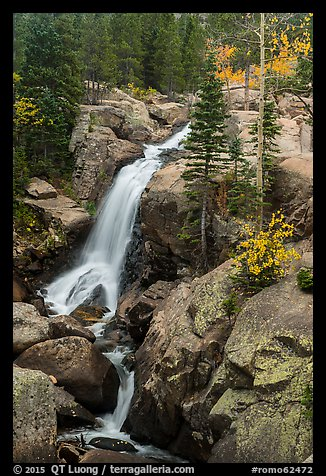 Alberta Falls in autumn. Rocky Mountain National Park (color)