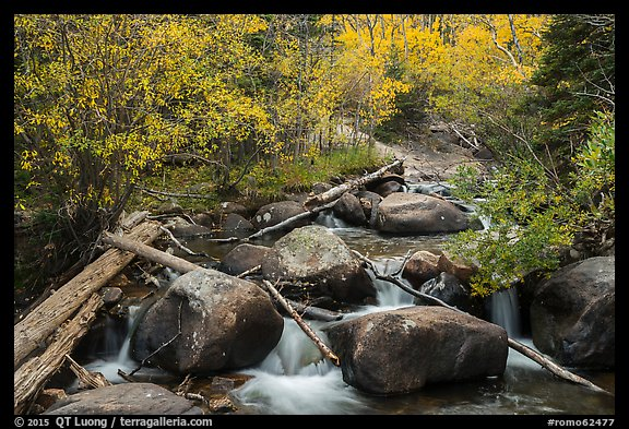 Stream above Alberta Falls in autumn. Rocky Mountain National Park (color)