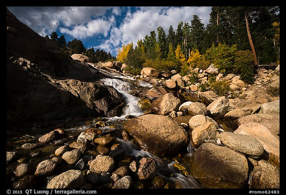 Stream cascading over Alluvial Fan and boulders. Rocky Mountain National Park (color)