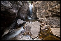 Waterfall in narrow gorge. Rocky Mountain National Park ( color)