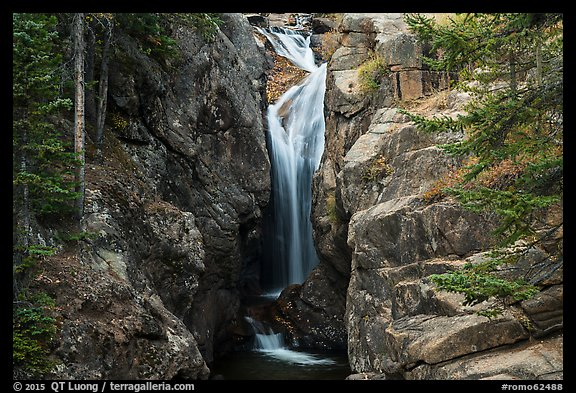 Chasm Falls flowing in narrow gorge. Rocky Mountain National Park (color)