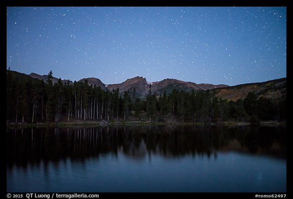 Sprague Lake at night. Rocky Mountain National Park (color)