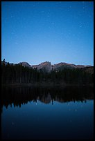 Starry sky above Sprague Lake. Rocky Mountain National Park ( color)