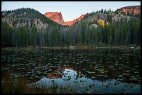 Hallet Peak above Nymph Lake at sunrise. Rocky Mountain National Park ( color)
