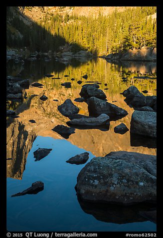 Boulders and reflections in Dream Lake. Rocky Mountain National Park (color)