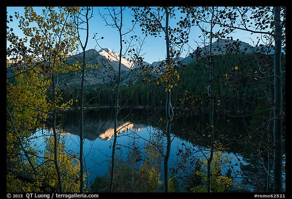 Bear Lakes and Longs Peak through trees with autumn leaves. Rocky Mountain National Park (color)