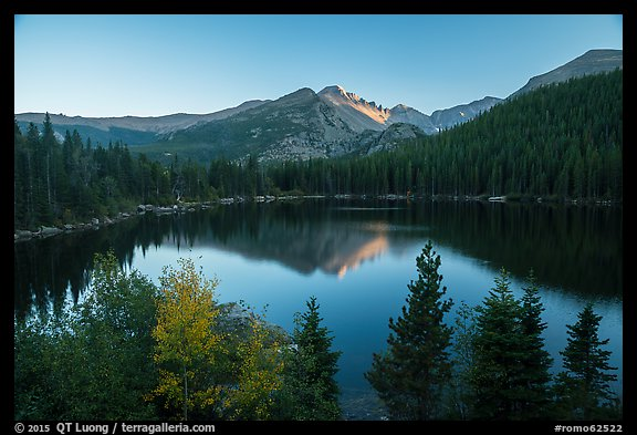 Bear Lake and Longs Peak in autumn. Rocky Mountain National Park (color)