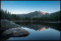 Bear Lake, Longs Peak, boulder and moon. Rocky Mountain National Park ( color)