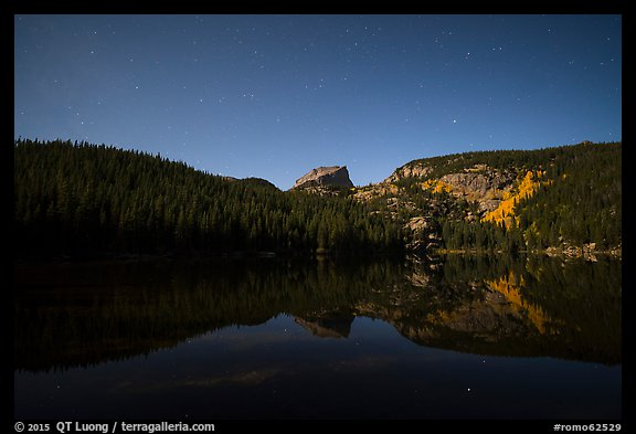 Hallet Peak reflected in Bear Lake at night. Rocky Mountain National Park (color)