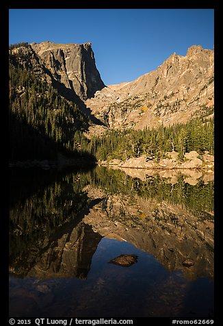 Dream Lake, Hallet Peak and Flattop Mountain. Rocky Mountain National Park (color)