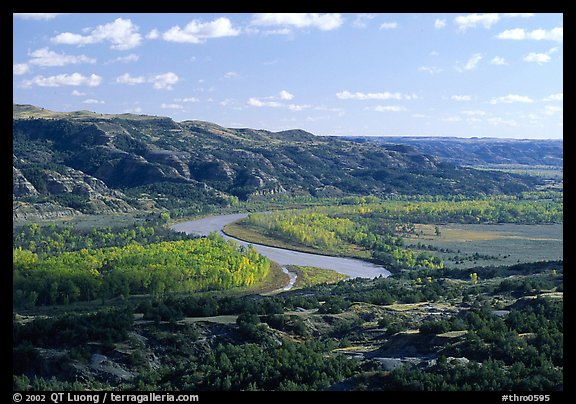 Little Missouri river at Oxbow overlook. Theodore Roosevelt National Park (color)
