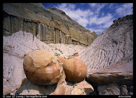 Big cannon ball formations in eroded badlands, North Unit. Theodore Roosevelt  National Park (color)