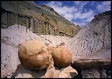 Big cannon ball formations in eroded badlands, North Unit. Theodore Roosevelt National Park, North Dakota, USA. (color)