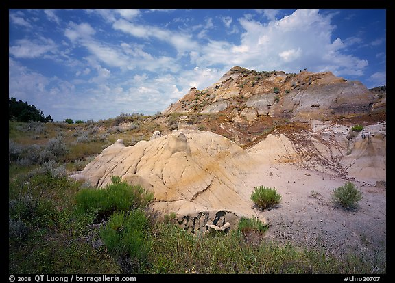 Colorful badlands and clouds, North Unit. Theodore Roosevelt National Park (color)