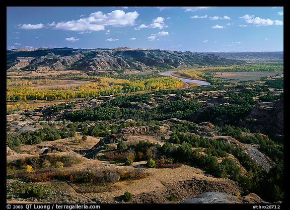 Little Missouri River Oxbow Bend in autumn, North Unit. Theodore Roosevelt National Park (color)