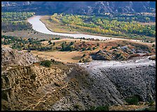 Little Missouri river and badlands at River bend in autumn. Theodore Roosevelt National Park ( color)