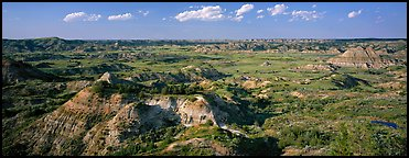 Rugged northern badlands landscape. Theodore Roosevelt National Park (Panoramic color)