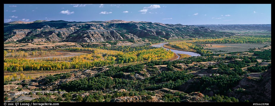 Wide valley with river and aspens in autumn color. Theodore Roosevelt National Park (color)