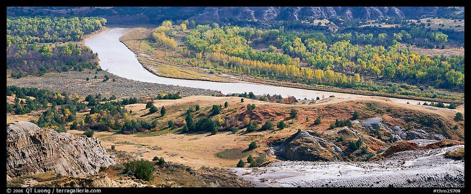 River, badlands, and aspens in the fall. Theodore Roosevelt National Park (color)