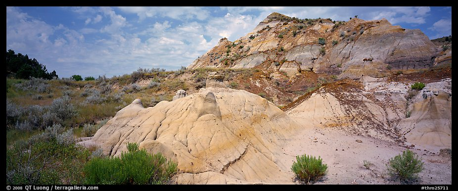 Multi-colored badland scenery. Theodore Roosevelt  National Park (color)