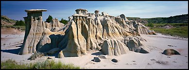 Erosion landscape with pedestal formation. Theodore Roosevelt National Park (Panoramic color)