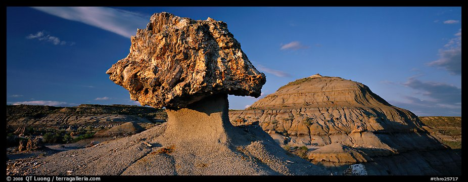 Badlands scenery with pedestal petrified log. Theodore Roosevelt National Park (color)