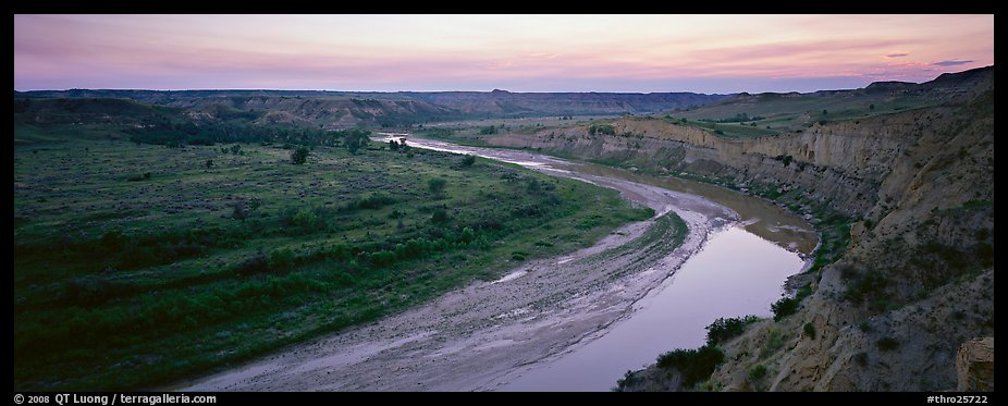 Scenic view of riverbend at sunset. Theodore Roosevelt National Park (color)