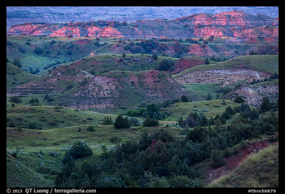 Sunset light over North Dakota badlands. Theodore Roosevelt National Park (color)