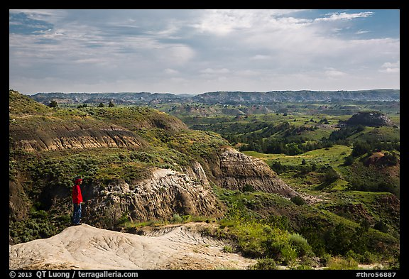 Park visitor looking, North Dakota Badlands Overlook. Theodore Roosevelt National Park (color)
