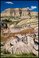 Badlands with colorful strata. Theodore Roosevelt National Park ( color)