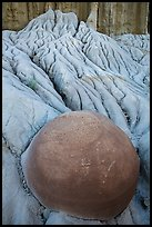 Spherical cannonball concretion in badlands. Theodore Roosevelt National Park, North Dakota, USA. (color)