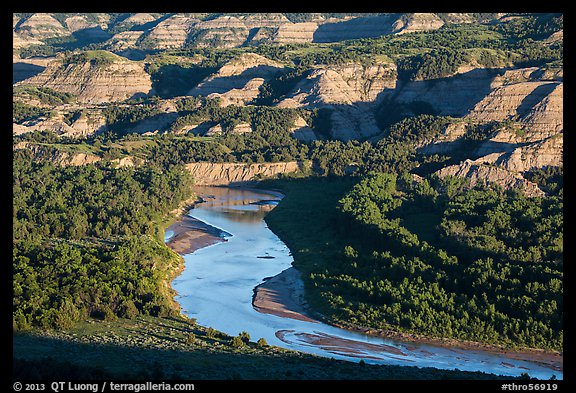 Little Missouri river bend and badlands in summer. Theodore Roosevelt National Park (color)