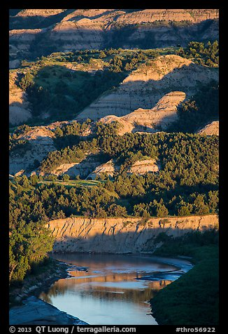 Badlands and Little Missouri river. Theodore Roosevelt National Park (color)
